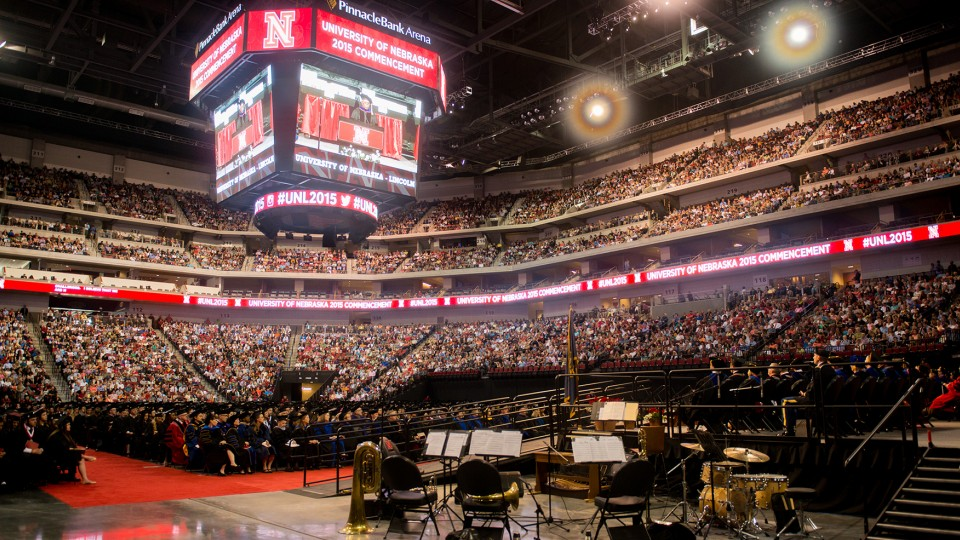 UNL completed spring 2015 graduation exercises with the baccalaureate commencement ceremony, held May 9 at Pinnacle Bank Arena. UNL set a single-semester record with 2,972 degrees awarded to spring graduates.