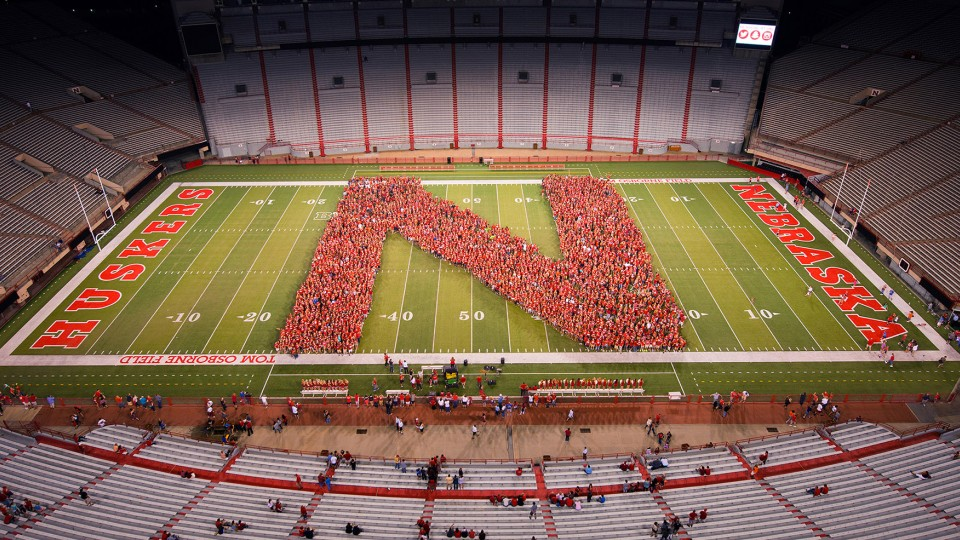 UNL's class of 2019 gathers to form an 'N' in Memorial Stadium before the fall semester. The 4,628 first-time students on campus this fall is the third-largest freshman class in the university's history.