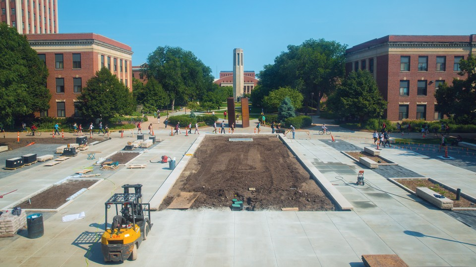 Construction continues on the new plaza that is part of the Love Library Learning Commons project. The plaza, which is on the north side of Love Library, includes three methods to help redirect rainfall into the ground and away from storm sewers. The project is part of UNL's new commitment to stormwater management.