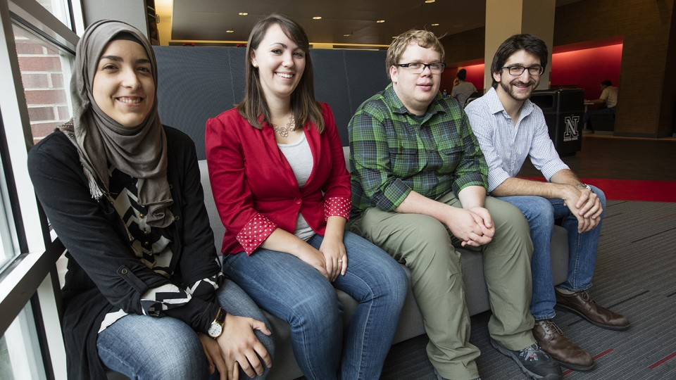 Receipents of the 2015 National Science Foundation Graduate Research Fellowship Program from UNL are (from left) Tasneem Bouzid, Abigail Riemer, William Jamieson and Tyler Corey.