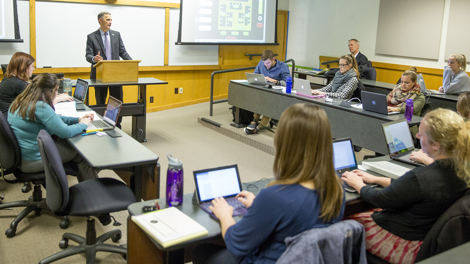 Richard Moberly, dean of Nebraska Law, leads a lecture in McCollum Hall. A new law in business major will feature five law faculty guiding four classes offered to undergraduates through the College of Business.