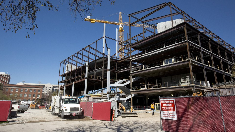 A topping off ceremony for the new CBA building at 14th and Vine streets is scheduled for April 15. The $84 million building is scheduled to open for the fall 2017 semester.