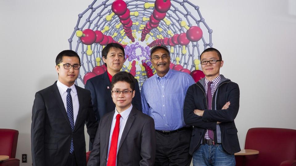 From left, Chongqin Zhu, Xiao Cheng Zeng, Lei Li, Joseph Francisco and Jie Zhong.