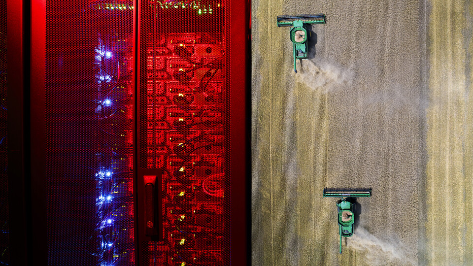 Photo composite featuring supercomputers lit red on the left and combines harvesting wheat on the right.