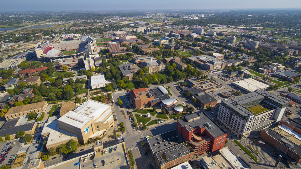 Aerial of City Campus looking north from downtown Lincoln.