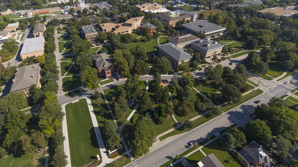Aerial view of Nebraska's East Campus, home to the Institute of Agriculture and Natural Resources.