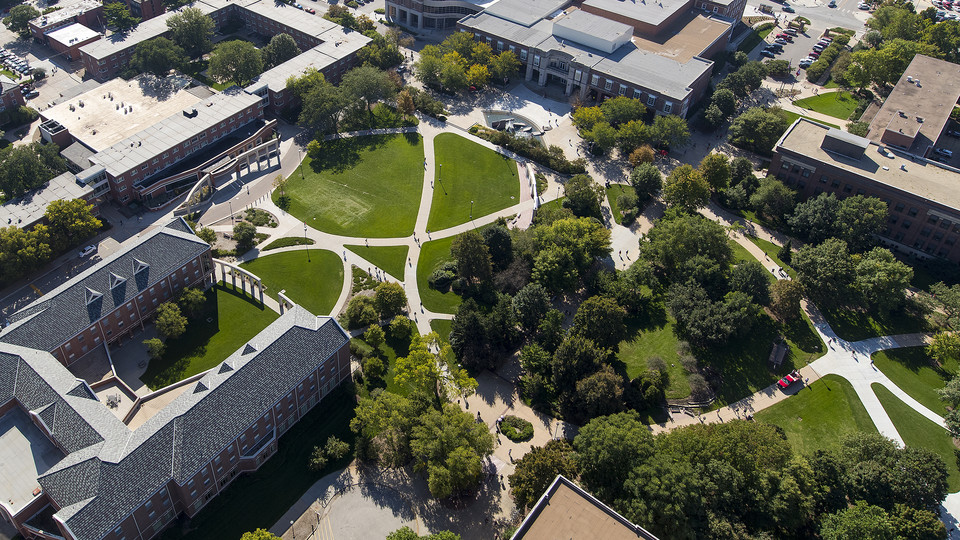 Aerial view of City Campus, including the Nebraska Union (top, left).
