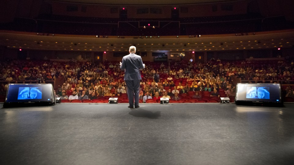 Chancellor Ronnie Green delivers his inaugural State of the University address on Sept. 22 at the Lied Center for Performing Arts.