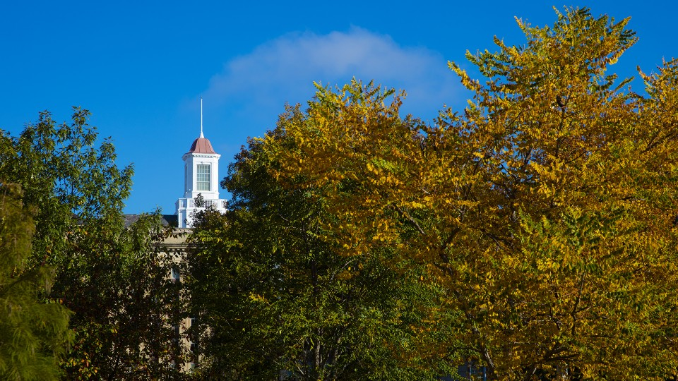 The Love Library cupola peeks out between fall color on Nebraska's City Campus.
