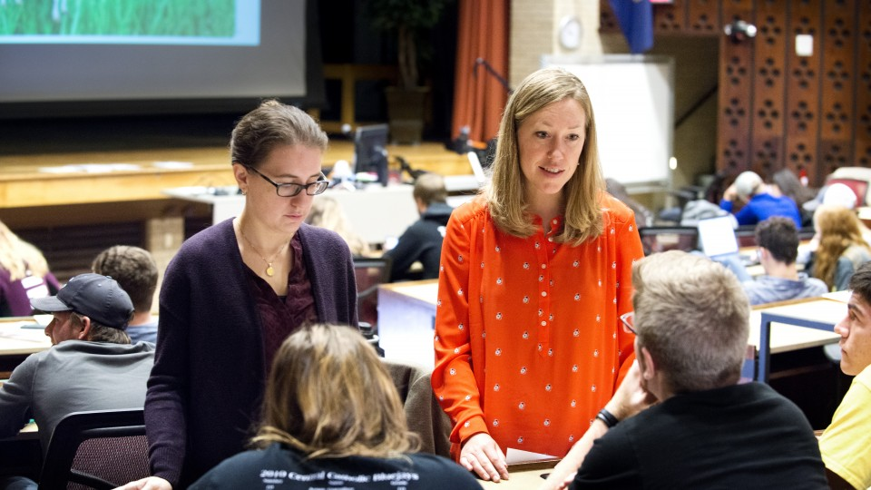 Jenny Dauer, assistant professor of natural resources, speaks with a student about a decision-making exercise. Dauer's forthcoming research is on using the decision-making model to teach scientific literacy.