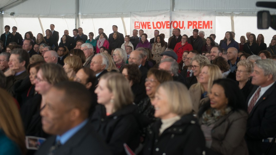Members of the university community, guests and friends listen during a Nov. 22 remembrance ceremony for Prem S. Paul.