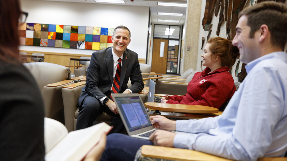 Richard Moberly shares a light-hearted moment with students in the University of Nebraska College of Law. Moberly, who has served as dean of the college since April 2017, has been named interim executive vice chancellor for the university.