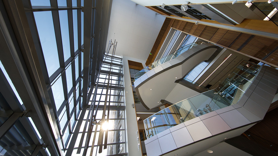 North staircase in Nebraska's new Howard L. Hawks Hall, home to the College of Business. The building will open for classes on Aug. 21.