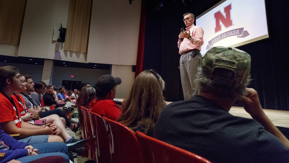 Chancellor Ronnie Green talks during a First Husker orientation session on Aug. 13. Green, who was a first-generation college student, is among the more than 300 faculty and staff who have volunteered for the First-Generation Nebraska program.