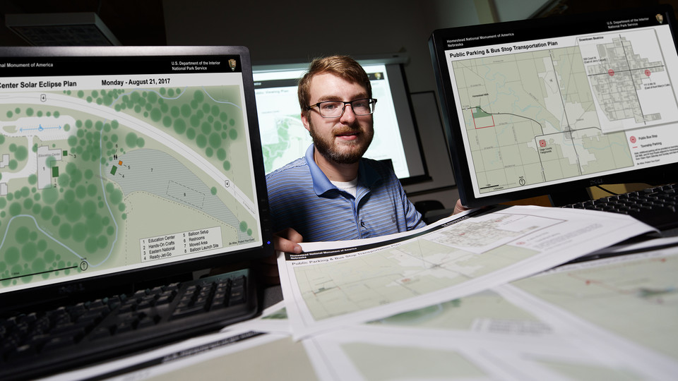 Austin Aren, a third-year landscape architecture student, is helping the National Park Service plan for solar eclipse events at Homestead National Monument.