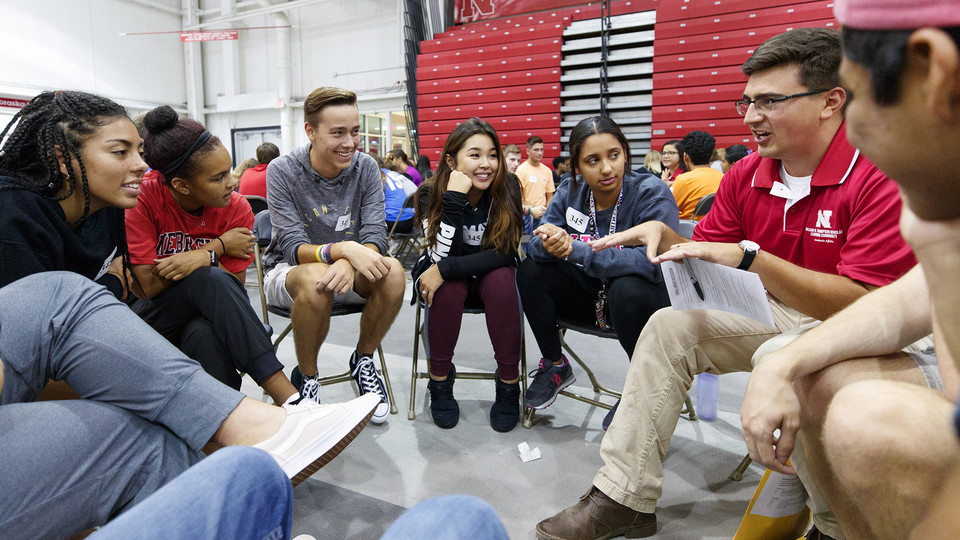 Nebraska students participate in Husker Dialogies, a diversity and inclusion event facilitated by more than 370 faculty, staff and student conversation guides, and held Sept. 6. The Husker Dialogues program is designed to introduce first-year students to tools that can be used to engage in meaningful conversations to help create an inclusive campus community.
