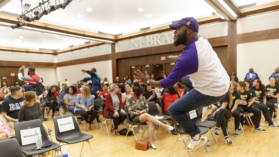 Huskers compete in the university's Stroll Off competition in the Nebraska Union on Sept. 8.