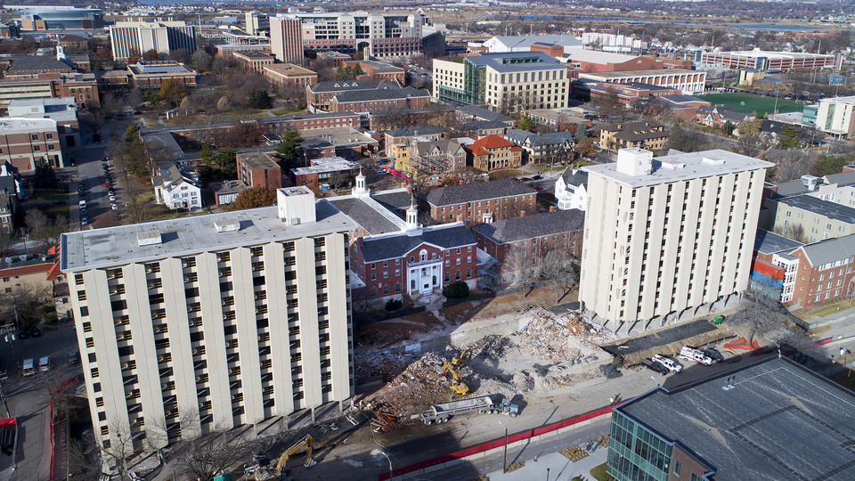 Prep work at Cather and Pound halls continues as the towers are being prepared for a Dec. 22 implosion.