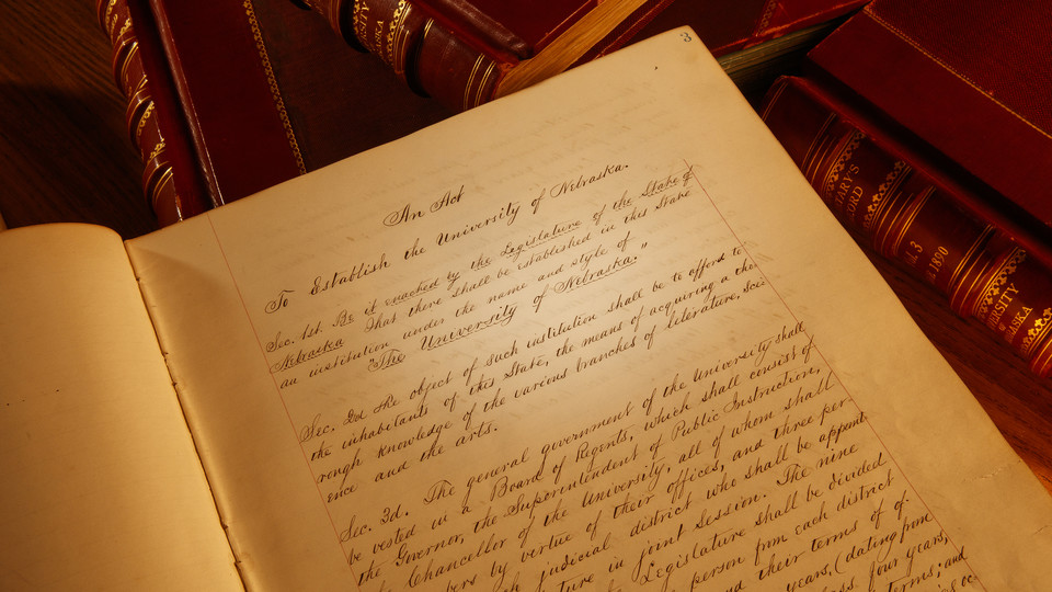 The Nebraska Lectures will expand to a year-long series in celebration of the university's 150th anniversary in 2019. The first lecture, on Jan. 23, will examine the history of the Nebraska Unicameral. Pictured is the charter that officially created the university on Feb. 15, 1869.