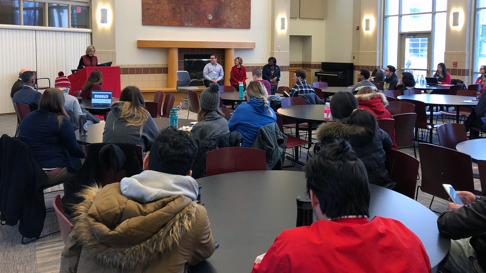 """Donde Plowman, executive vice chancellor, answers questions during the Feb. 8 """"Campus Conversations"""" open forum in Kauffman Academic Center. The series continues Feb. 9 with sessions for students, faculty and staff."""