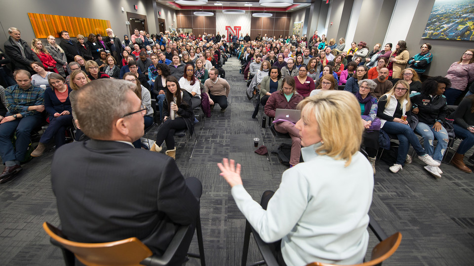 Nebraska's Donde Plowman (right) and Ronnie Green lead the faculty/staff listening session held Feb. 9 in the Nebraska Union.