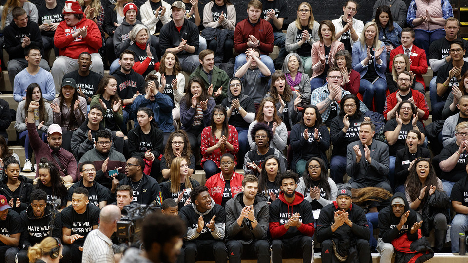 "More than 1,500 members of the campus community participated in a student-led ""Hate Will Never Win"" rally at the Coliseum on Feb. 14. The slogan was launched by the Huskers men's basketball team and has gained wide acceptance by Nebraska's student body."