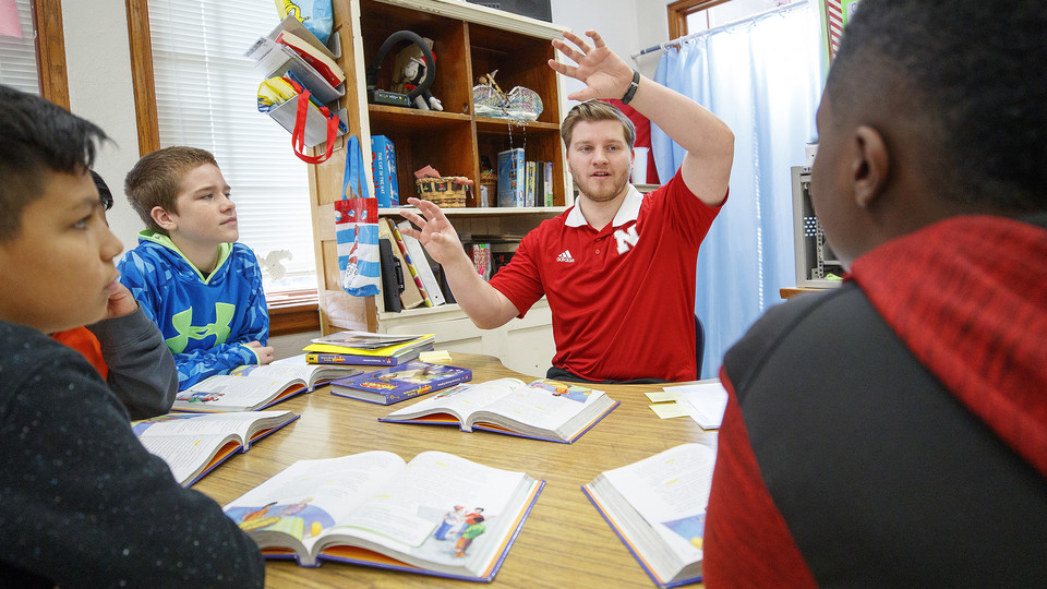 Brenden Trout student taught in 2018 in fifth grade at Elliott Elementary in Lincoln.  February 20, 2018.