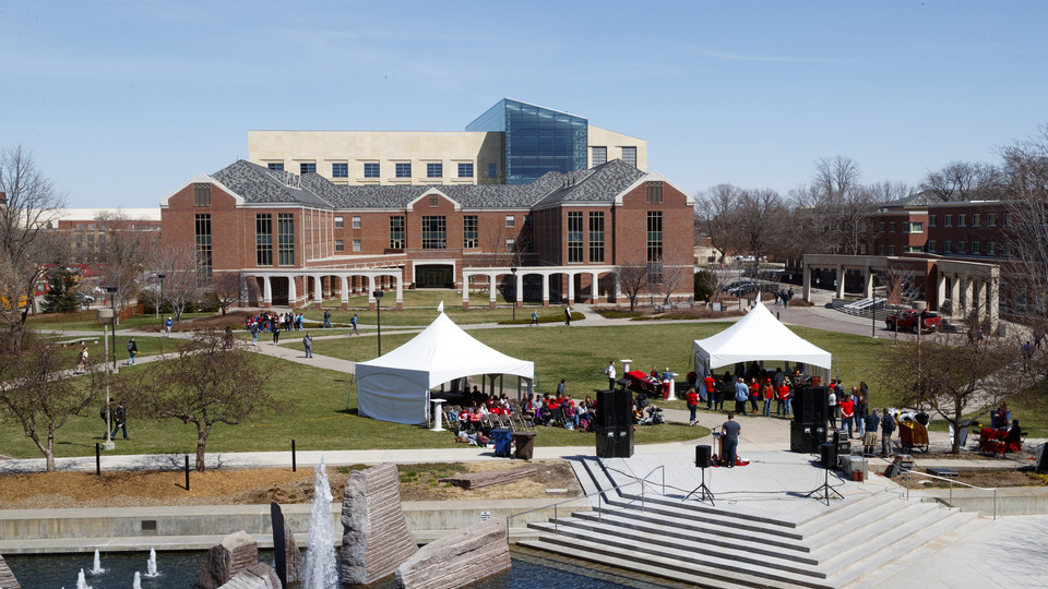 """The university's first-ever Homerathon — a marathon reading of """"Iliad"""" — was held April 19 on the Meier Commons green space north of the Nebraska Union."""