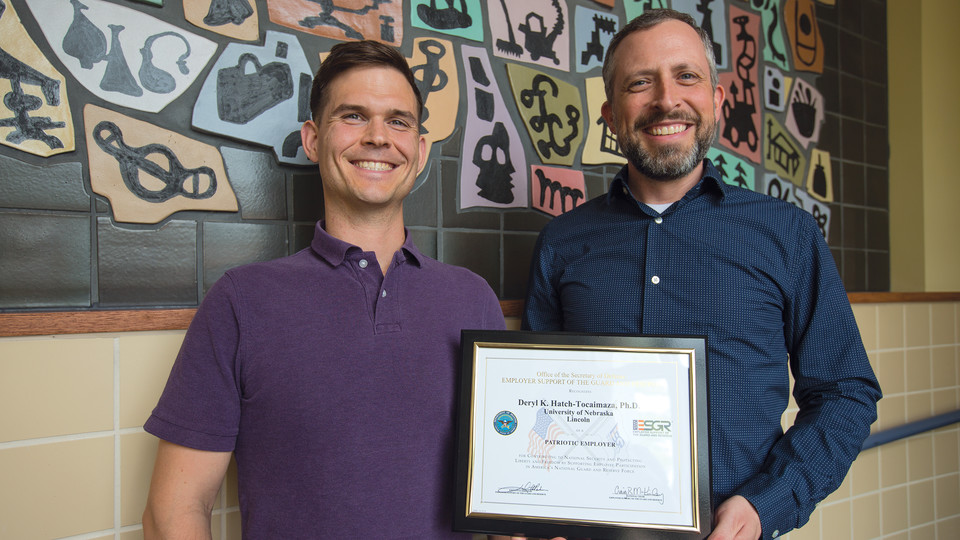 Nebraska's Deryl Hatch-Tocaimaza (right) recently received a Department of Defense award for his ongoing support of Adam Fullerton, a member of the U.S. Marine Corps Reserve and doctoral student. Fullerton nominated Hatch for the honor.