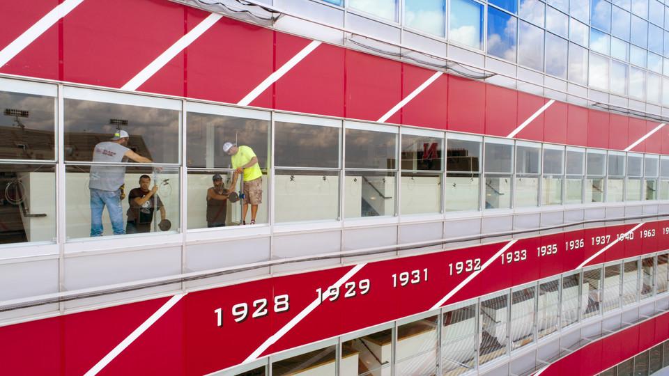 Window installation in West Stadium