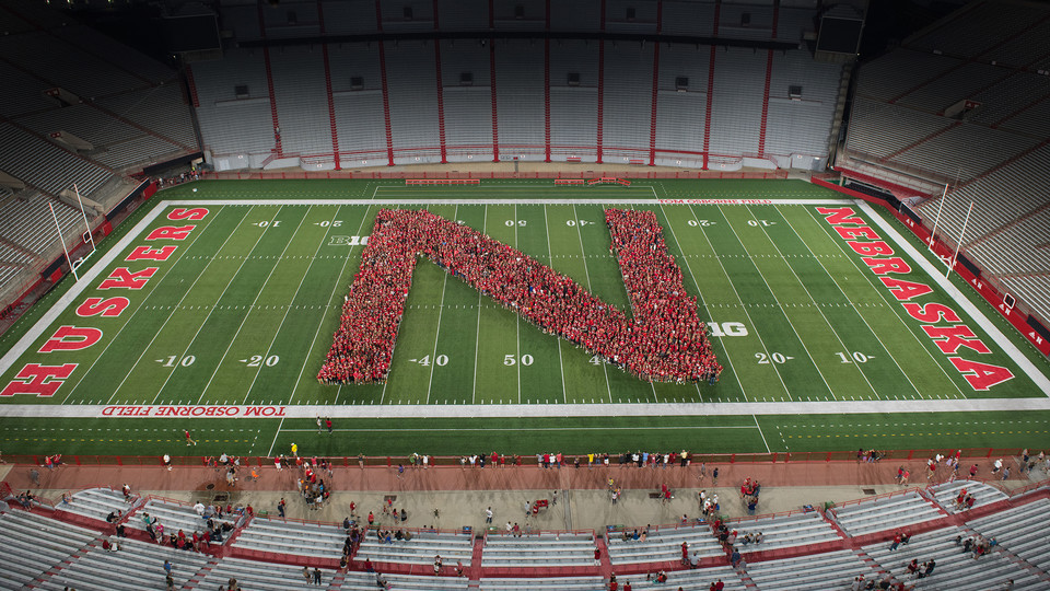 New students form a Husker N in Memorial Stadium
