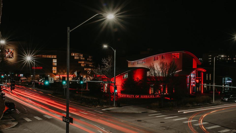 Nebraska Visitors Center at night.