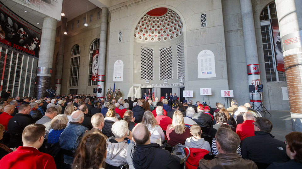 More than 350 attended the Nov. 11, 2018 dedication of new Memorial Stadium plaques celebrating the World War I service and sacrifice of Nebraskans and University of Nebraska students. The memorial plaques are located by Gate 20 in East Memorial Stadium.