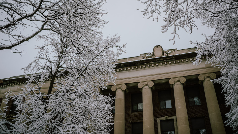 Ice crystals cover trees near the south entrance to Pound Hall. The building, located northeast of the intersection of 12th and R streets, is the new home to Nebraska's Services for Students with Disabilities office.