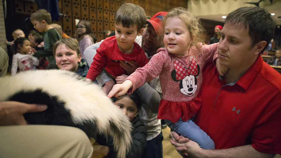 Kids and parents pet a skunk during Wildlife Encounters on March 5.