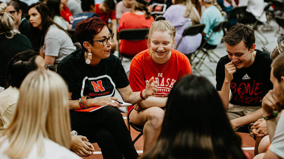 Megan Elliott, director of the Johnny Carson Center for Emerging Media Arts, guides a Husker Dialogues discussion in the Devaney Sports Center at the start of the fall 2019 semester. The Husker Dialogues project is designed to introduce first-year students to tools they can use to engage in meaningful conversations on inclusivity.