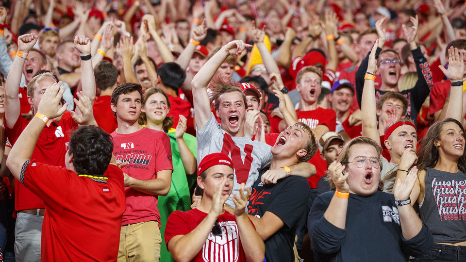 Nebraska's student section erupts in celebration during the Huskers' victory over Northern Illinois on Sept. 14. ESPN GameDay returns to Lincoln this week for the Huskers' Sept. 28 game with the No. 5 Ohio State Buckeyes.