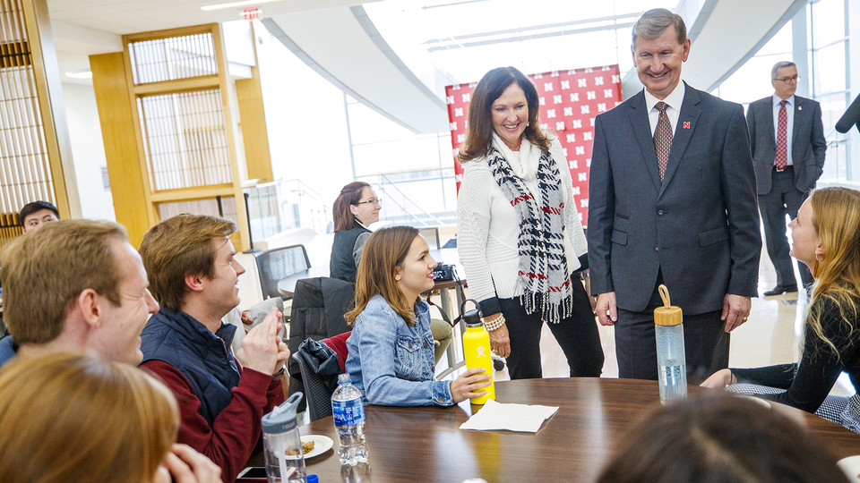 Ted and Lynda Carter meet with students prior to a Nov. 5 open forum in Howard L. Hawks Hall. Ted Carter was selected as the priority candidate to become the University of Nebraska's eighth president.