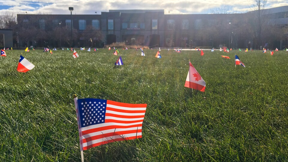 International flag display on the Green Space outside the Nebraska Union from 2019.