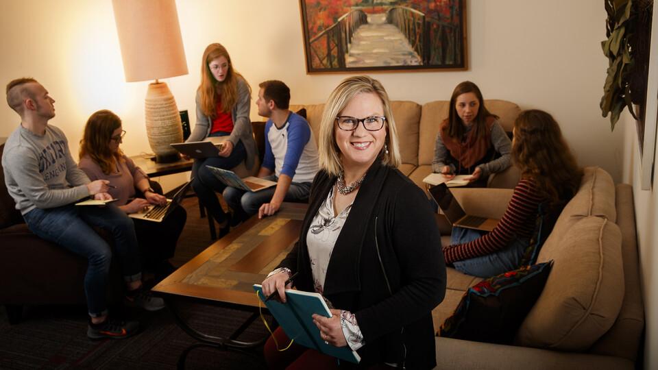 Jody Koenig Kellas, professor and chair of communication studies, is shown in her lab.
