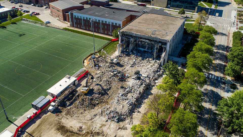 Demolition of Nebraska's Mabel Lee Hall is nearly complete. It is one of a number of major campus construction projects in progress this summer.