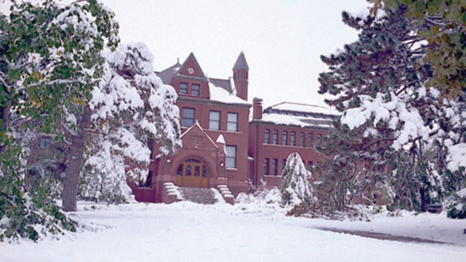 Tree damage around Architecture Hall following the October 1997 snowstorm.