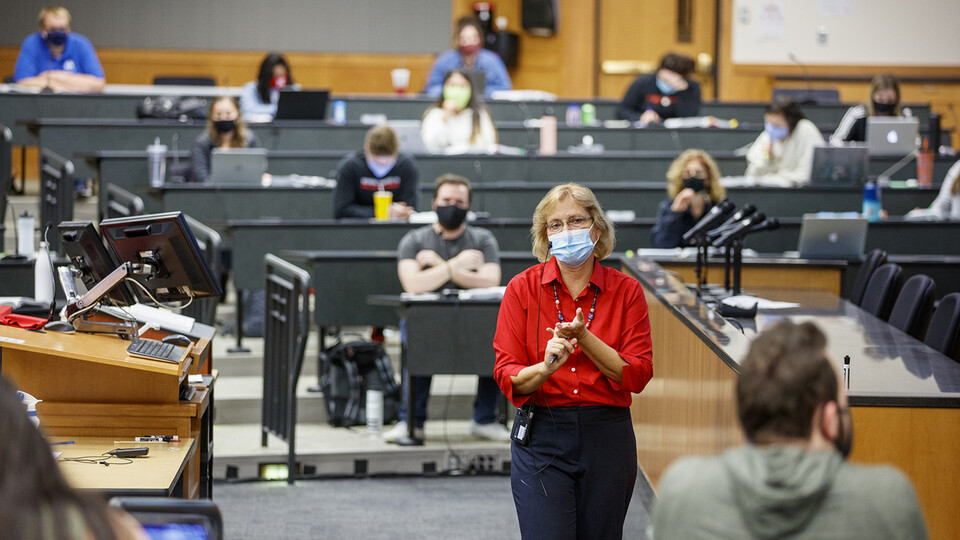 Colleen Medill, a professor in the College of Law, leads a lecture in McCollum Hall at the start of the fall 2020 semester.