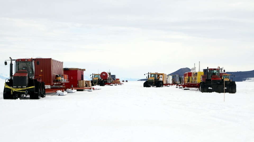 Image from the 625-mile, 14-day traverse from McMurdo Station to the Lake Whillans drill site.