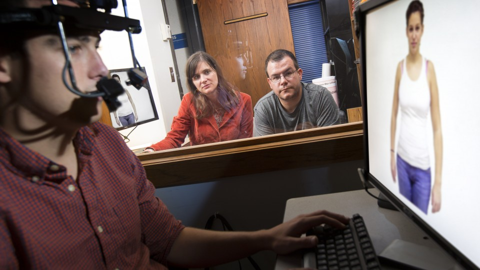 Sarah Gervais (left) and Michael Dodd employed eyetracking technology to intricately map the visual behavior of both men and women as they viewed images of different females with different body types.