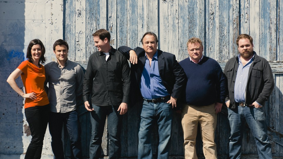 Jim Belushi (third from right) and Chicago Board of Comedy performers.
