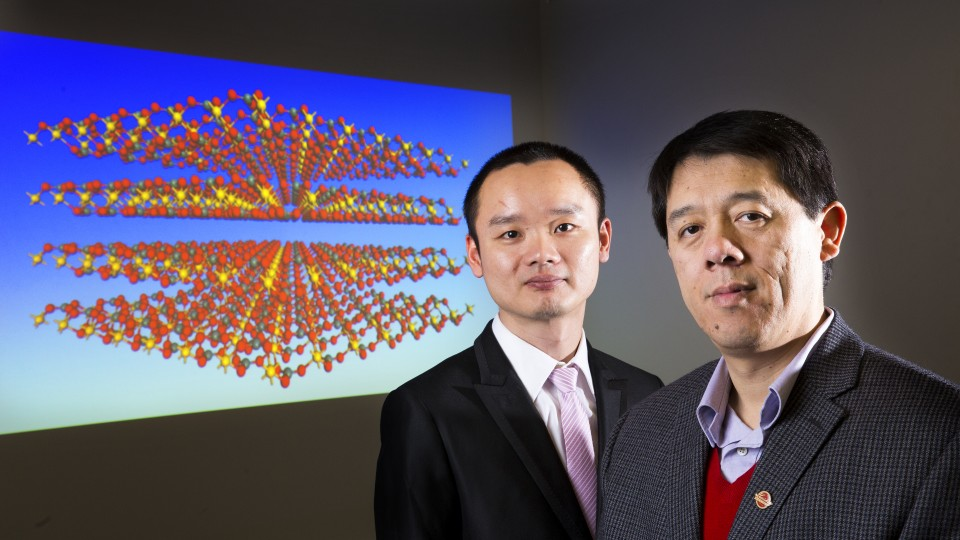 A research project that includes UNL's Xiao Cheng Zeng (left), chemistry professor, and Jun Dai, post-doctoral researcher, has led to the discovery of a new material. The results were published in the Feb. 27 edition of Physical Review Letters X.