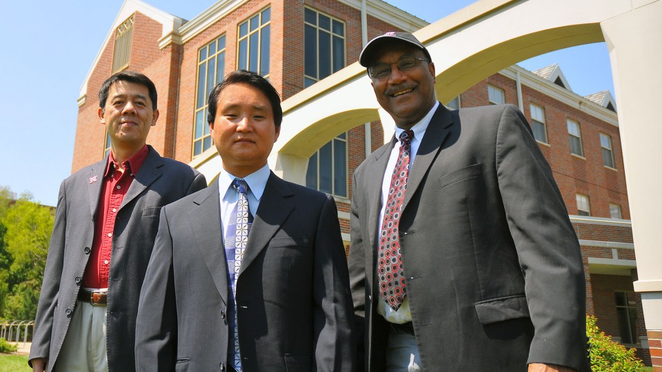 Research by UNL's (from left) Xiao Cheng Zeng, Jaeil Bai and Joseph Francisco may lead to the development of large-scale hydrogen storage media.