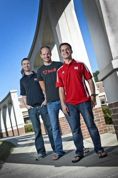 Hudl company founders (from left) Brian Kaiser, David Graff and John Wirtz have given $500,000 to establish an endowment for student scholarships at the Jeffrey S. Raikes School of Computer Science and Management. All three are graduates of the program.