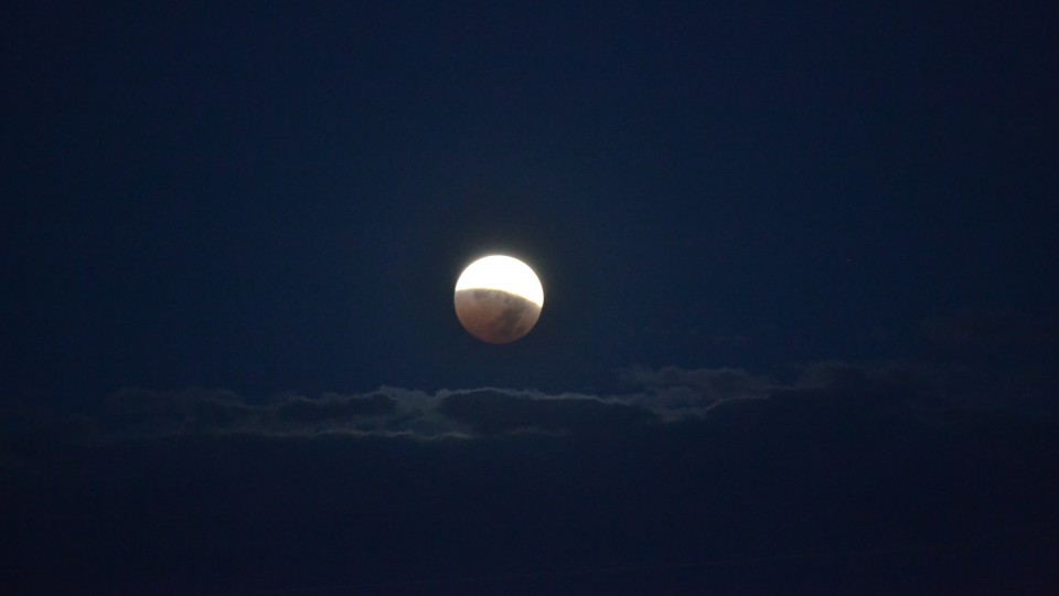 The end of the lunar eclipse on Oct. 8, 2014, the second eclipse in the current tetrad of lunar eclipses.
